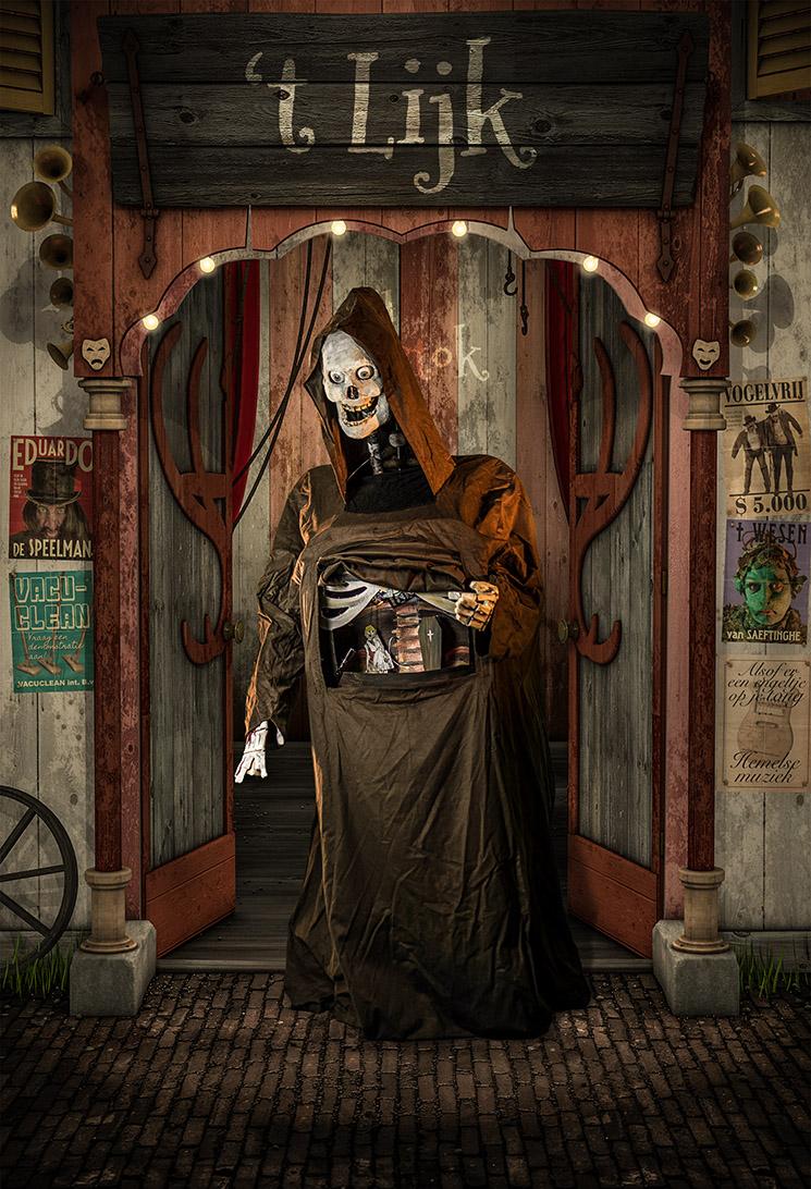 Halloween straattheater het lijk aller zielen